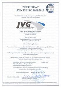 JVG Autologistik - Prime Cert
